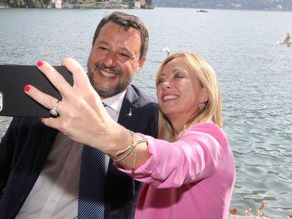 Matteo Salvini, líder de la Liga, y Giorgia Meloni, de Hermanos de Italia, en el foro económico de Cernobbio.
