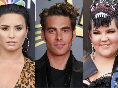 De izquierda a derecha, Demi Lovato, Jon Kortajarena y Netta Barzilai.
