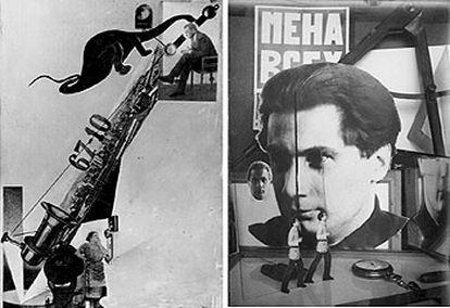 Fotomontaje 'Balada de la cárcel de Reading', 1923. A la derecha, 'Mena Veskh (cambio de todo el mundo)', 1924.