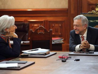 La directora del FMI, Christine Lagarde, durante su encuentro con López Obrador.