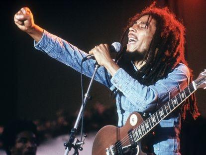 El compositor y cantante jamaicano Bob Marley, en un concierto en Estocolmo en 1978.