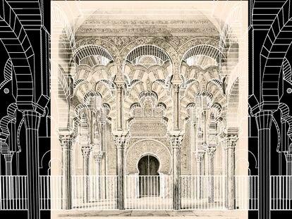 Vista frontal del mihrab de la Mezquita-catedral de Córdoba publicada por Girault de Prangey en 1839 con el modelo digital del estado actual superpuesto. / A. GÁMIZ/ J. CANTIZANI / J. F. REINOSO