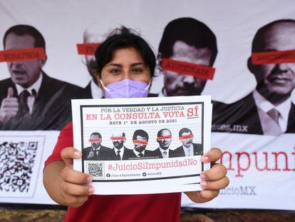 Una campaña de Morena para llamar a votar en la consulta popular del 1 de agosto.