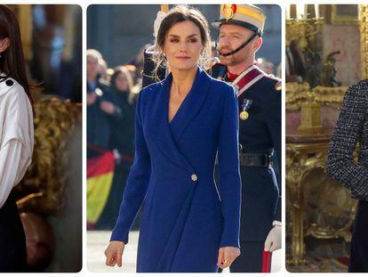 La reina Letizia en la Pascua Militar de 2021, 2020 y 2019.