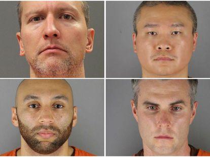 Los policias despedidos: Derek Chauvin, Tou Thao, Thomas Lane y J. Alexander Kueng en la cárcel de Minneapolis, Minnesota.