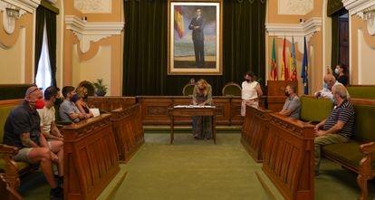 Firma del convenio en el Ayuntamiento de Castellón, presidido por Amparo Marco.