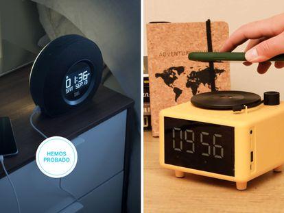 Dos ejemplos de radio despertadores que integran altavoz Bluetooth para empezar el día con música o escuchando la radio.