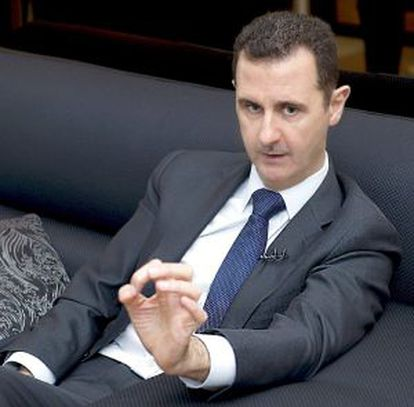 El Asad durante la entrevista, en una imagen de la agencia oficial siria.