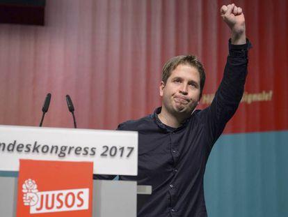 Kevin Kühnert, líder de las juventudes del SPD, en el congreso federal en el que fue elegido como representante de la organización el pasado 24 de noviembre.