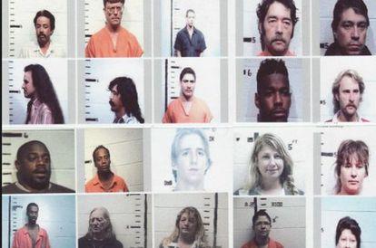 Fotos policiales de norteamericanos detenidos en controles fronterizos por tráfico de droga en el condado de Hudspeth, Sierra Blanca, en Tejas.