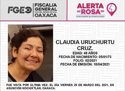 Archivo de búsqueda de Claudia Uruchurtu, desaparecida el 26 de marzo en Asunción Nochixtlán (Oaxaca).