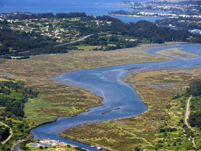 Vista aérea de la ría de Betanzos.