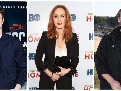 Desde la izquierda: Daniel Radcliffe, J. K. Rowling y Rupert Grint.