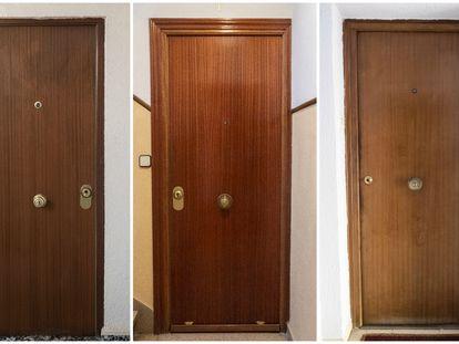 Puertas de domicilios en la Comunidad de Madrid donde murieron personas en soledad durante la pandemia.