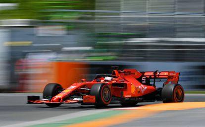 Sebastian Vettel, durante la clasificación en el circuito de Montreal.