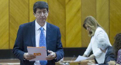 Juan Marín y Susana Díaz, en el pleno del debate de investidura.