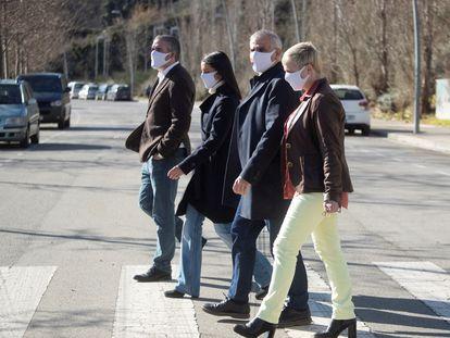 De izquierda a derecha, Jorge Soler (candidato de Cs por Lleida), Inés Arrimadas, Carlos Carrizosa y Anna Grau (número 2 por Barcelona), ayer en Barcelona.