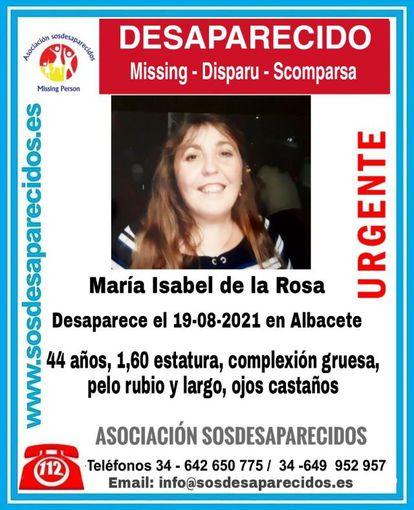 Cartel de búsqueda de María Isabel de la Rosa.