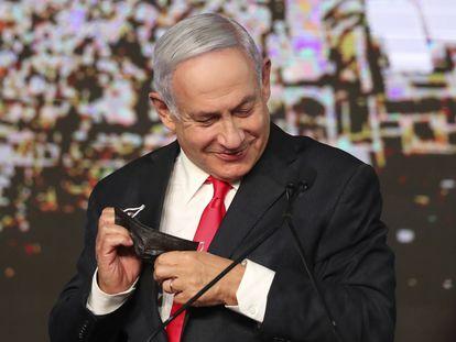 El primer ministro israelí, Benjamín Netanyahu, en Jerusalén tras las elecciones del 23 de marzo.