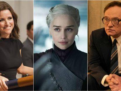Julia Louis-Dreyfus ('Veep'), Emilia Clarke ('Juego de tronos') y Jared Harris ('Chernobyl').