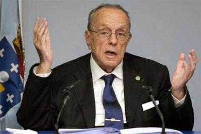 Manuel Fraga, en la rueda de prensa posterior al último Consejo de la Xunta.