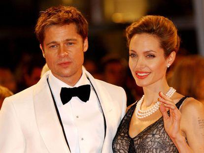 Brad Pitt y Angelina Jolie en el Festival de Cine de Venecia en 2007.