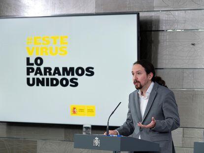 El vicepresidente y ministro de Derechos Sociales, Pablo Iglesias, durante la rueda de prensa ofrecida en el Palacio de La Moncloa tras el Consejo de Ministros de este martes en Madrid.