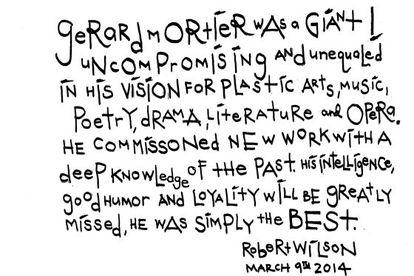 Dedicatoria de Robert Wilson a Gerard Mortier