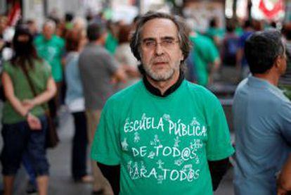 Miguel Ángel Sánchez del Valle, en una protesta de profesores.