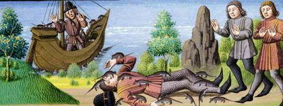 Las ratas devoran a un difunto, según una representación de 'Le Miroir Historial', del siglo XV, que se conserva en el Museo Condé de Chantilly.
