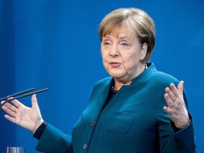 La canciller alemana, Angela Merkel, en una intervención ante medios de comunicación durante la crisis del coronavirus.