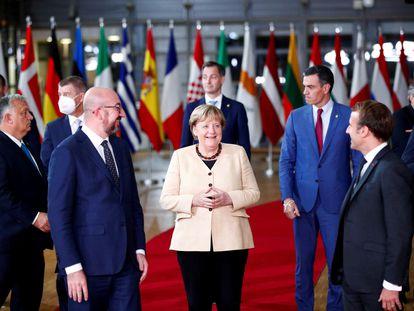 Varios líderes europeos, durante una cumbre de la UE en Bruselas el 21 de octubre.