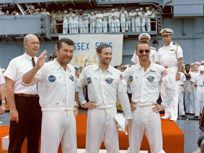 Wally Schirra, Donn Eisele y Walter Cunningham, tras regresar de la misión Apolo 7, el 22 de octubre de 1968.