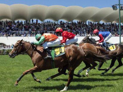 Carrera en el Hipódromo de la Zarzuela.