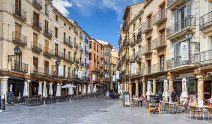 Imagen de la plaza del Torico, en el centro de Teruel.