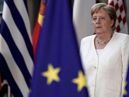 Angela Merkel, en la cumbre europea, este domingo en Bruselas.