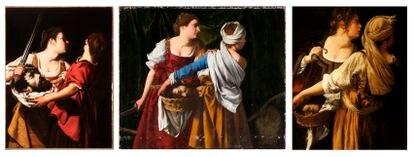 De izquierda a derecha: 'Judit y su sirvienta con la cabeza de Holofernes' (c. 1605-1612), de Orazio Gentileschi; otra versión de Orazio Gentileschi de 'Judit y su sirvienta con la cabeza de Holofernes' (1608-1609), en el Museo de Oslo. Y una de las obras de Artemisia Gentileschi con la misma temática (1618-1619), en el Palacio Pitti.