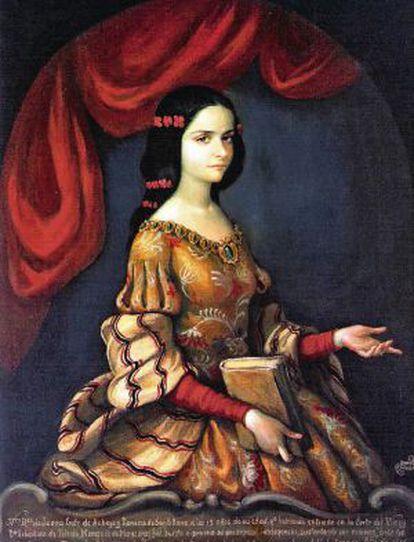 Descendiente de españoles, sor Juan Inés de la Cruz, a la derecha, nació en México en 1651. Brillante, culta, aguda y sensible, reivindicó el papel de las oprimidas mujeres