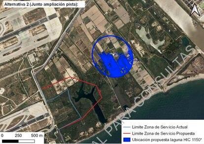 Mapa de Aena de medidas compensatorias para el área de La Ricarda.