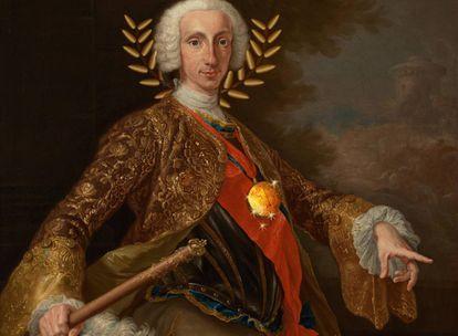 Montaje sobre el retrato de Carlos de Borbón que Giuseppe Bonito le hizo en 1745. El cuadro original se encuentra en el Museo del Prado de Madrid.