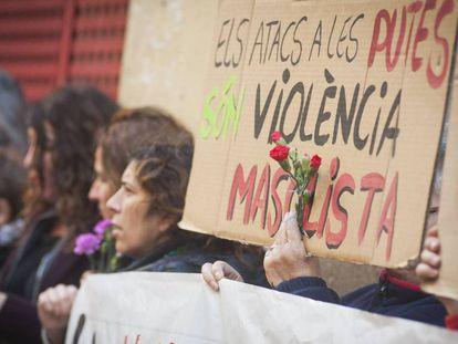 Manifestación por el asesinato de una prostituta en Barcelona en diciembre de 2017.