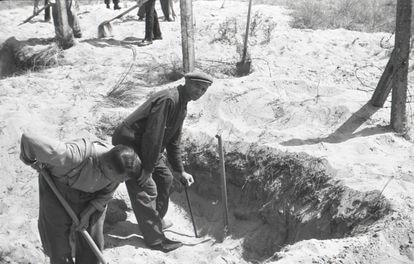 Piet Kuijt, con gorra y apoyado en una pala, trabaja en una exhumación. / NIOD