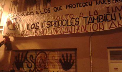La sede de SOS Racismo en Madrid tras ser atacada esta madrugada.