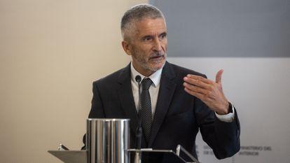 El ministro del Interior, Fernando Grande-Marlaska, da una rueda de prensa tras participar en la IV Reunión de la Comisión de Seguimiento del Plan de Acción de Lucha contra los Delitos de Odio en el Ministerio del Interior, este miércoles, en Madrid.