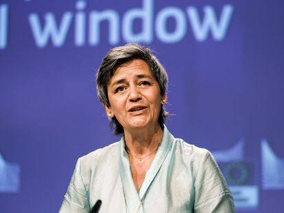 La vicepresidenta ejecutiva de la Comisión Europea, Margrethe Vestager, el pasado viernes en Bruselas.