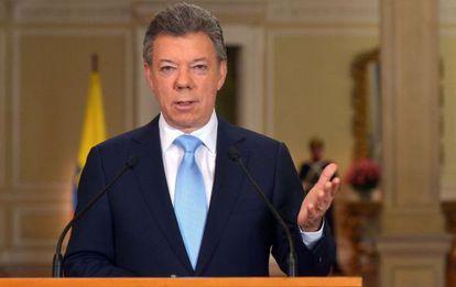 Juan Manuel Santos, durante su discurso.