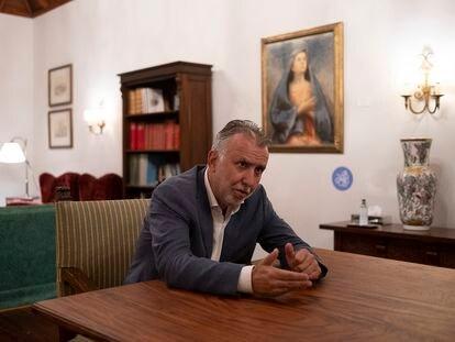 El presidente del Gobierno de Canarias, Ángel Víctor Torres, durante la entrevista.