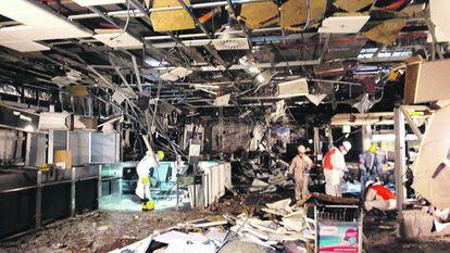 El hall de facturación del aeropuerto de Zaventem, el 23 de marzo, un día después de los ataques.