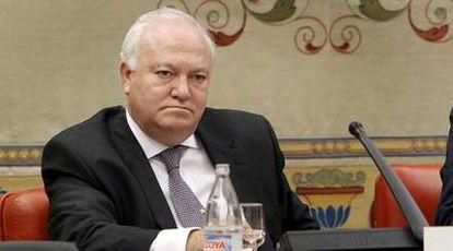Miguel Ángel Moratinos, durante su comparecencia de ayer en el Congreso sobre el <i>caso Haidar.</i>
