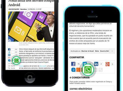 Botón para compartir noticias a través de WhatsApp.